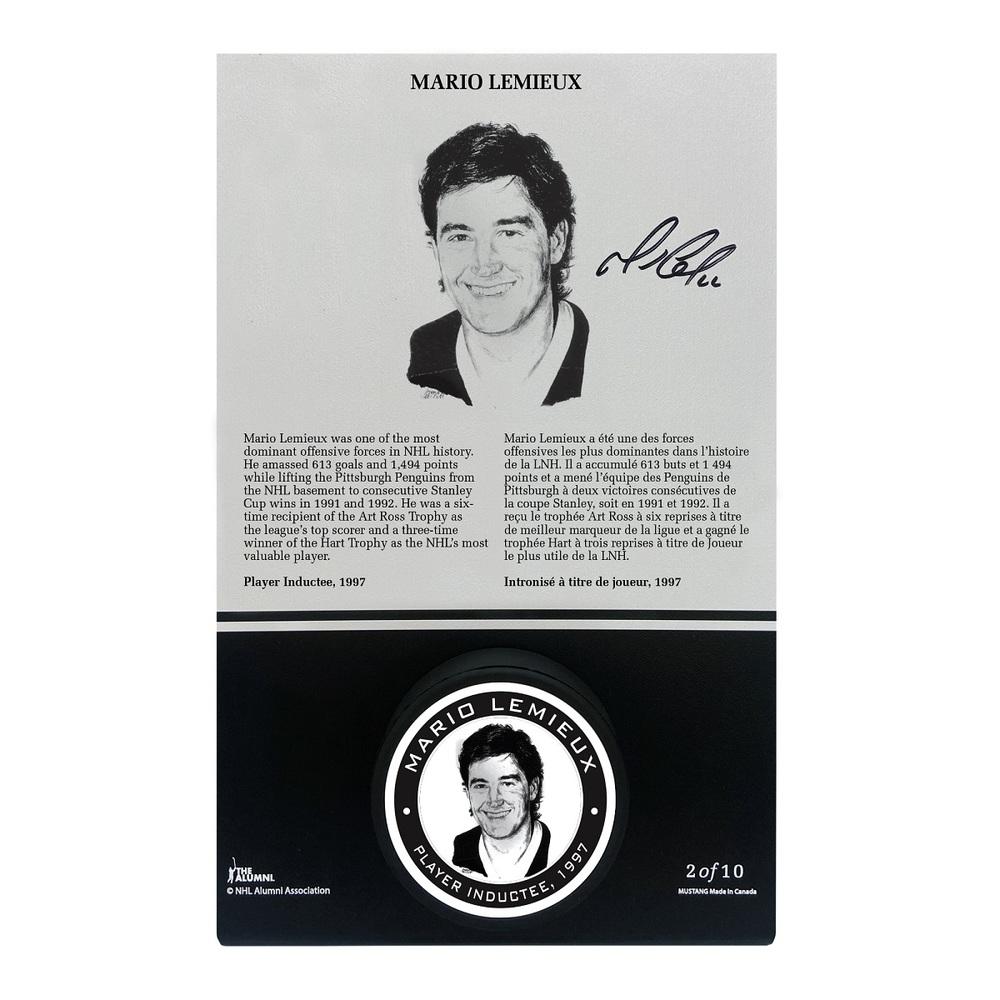 Mario Lemieux Autographed Legends Line Honoured Member Puck Stand - Limited Edition 2/10