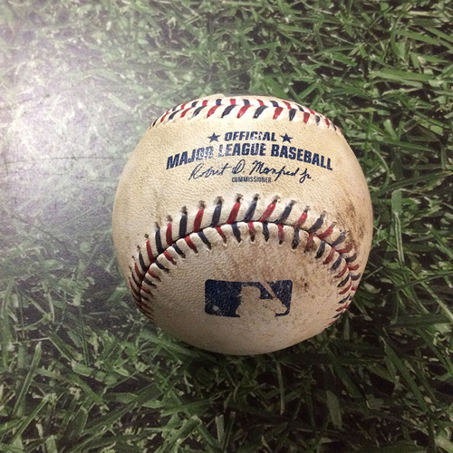 Photo of Game-Used Baseball BAL@MIL 07/04/17 - Tyler Wilson - Keon Broxton: Strikeout