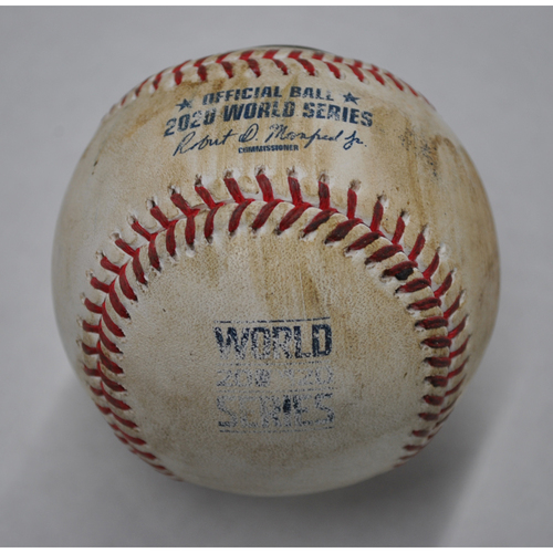 Photo of Game-Used Baseball - 2020 World Series - Tampa Bay Rays vs. Los Angeles Dodgers - Game 1 - Pitcher: Clayton Kershaw, Batters: Hunter Renfroe (Groundout to SS), Manuel Margot (Foul) - Top 4