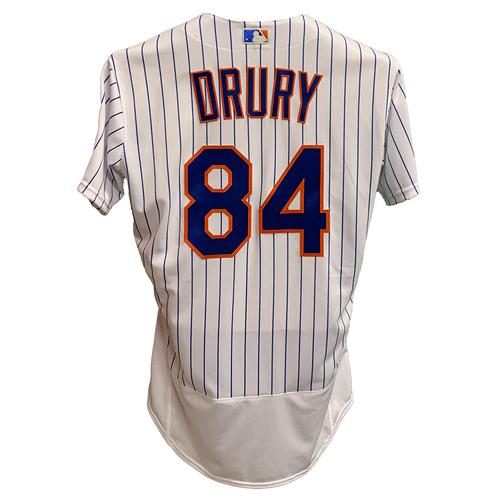 Photo of Brandon Drury #84 - Team Issued White Pinstripe Jersey - 2021 Season