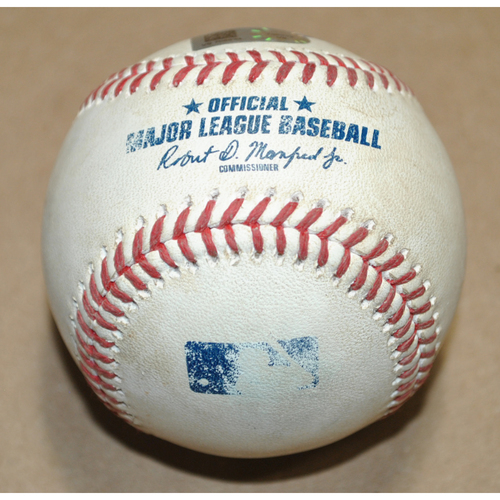 Photo of Game-Used Baseball - 2020 NLCS Game 7 - Atlanta Braves vs. Los Angeles Dodgers - Batter: A.J. Pollock, Pitcher: Ian Anderson, Single to LF, Bot 2