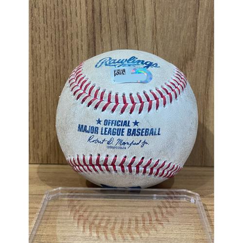 Photo of Game-Used Baseball: Pitcher: Carlos Estevez, Batter: Corey Seager (Single to Trevor Story) Batter: Trea Turner (Foul) - September 23, 2021