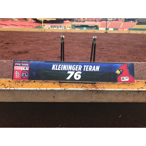 Photo of Cardinals Authentics: Kleininger Teran Team-Issued Spring Training Locker Tag