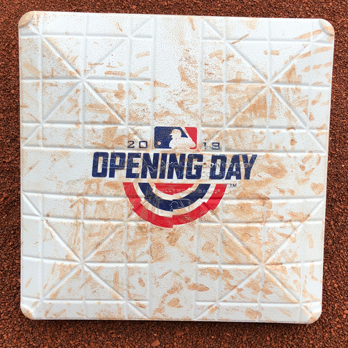 Photo of San Francisco Giants - Game-Used Base - Home Opening Day 4/3/2018 vs. the Seattle Mariners - 3rd Base Used in innings 1 - 3.