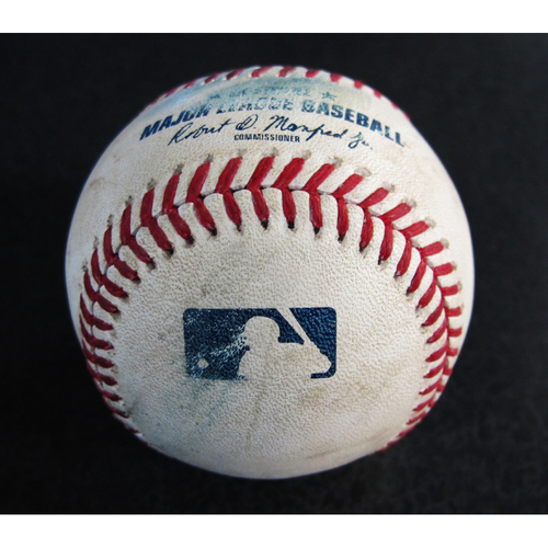 Photo of Game-Used Baseball From the Albert Pujols 3000 Hit Game - Pitcher: Garrett Richards, Batter: Gamel (Strikeout), Freitas (Groundout), Gordon (Foul) - 5/4/18