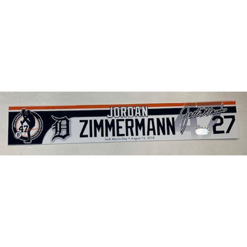 Photo of Game-Used Jack Morris Number Retirement Day Locker Name Plate: Jordan Zimmermann