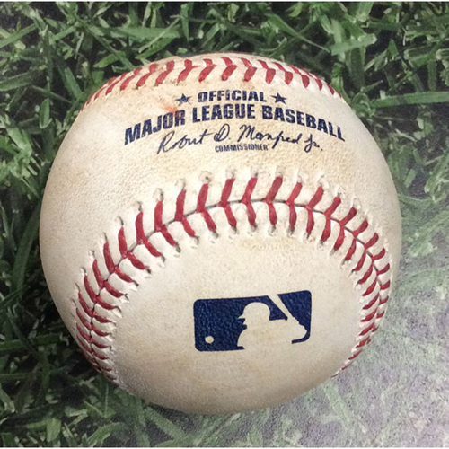 Photo of Game-Used Baseball STL@MIL 08/27/19 - Miles Mikolas - Keston Hiura: Single