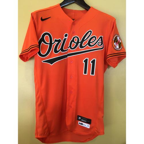 Photo of Jose Iglesias - Orange Spring Training Alternate Jersey: Game-Used - 2/27/20
