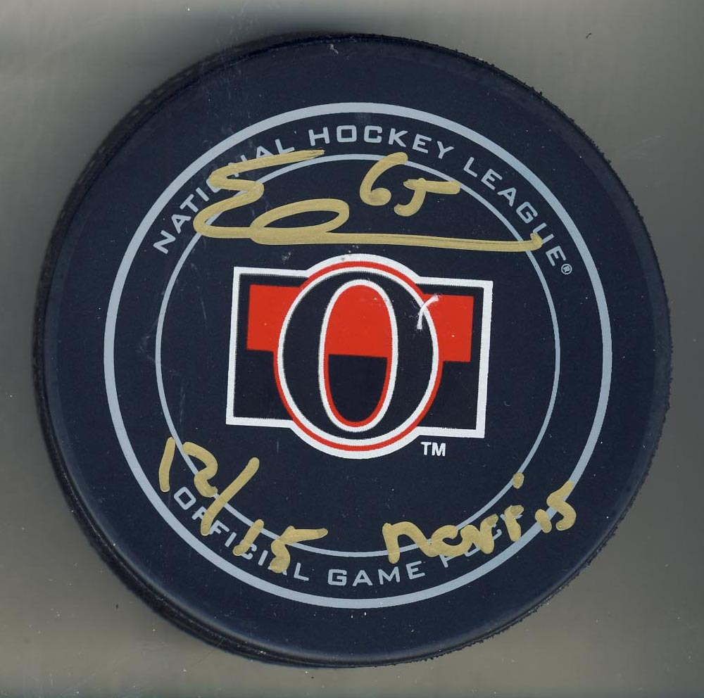 Erik Karlsson Ottawa Senators Autographed Official Game Hockey Puck with 12 / 15 Norris Inscription