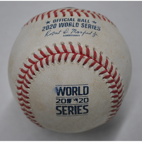 Photo of Game-Used Baseball - 2020 World Series - Tampa Bay Rays vs. Los Angeles Dodgers - Game 1 - Pitcher: Pedro Baez, Batter: Brandon Lowe (Popout to 2B) - Top 8