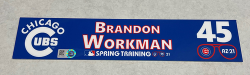 Photo of Brandon Workman 2021 Spring Training Locker Nameplate