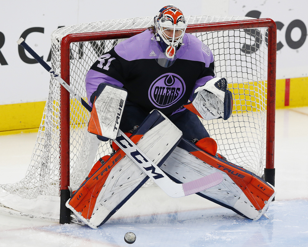 Mike Smith #41 - Autographed 2020-21 Edmonton Oilers Hockey Fights Cancer Night Pre-Game Warm-Up Used CCM Goalie Stick