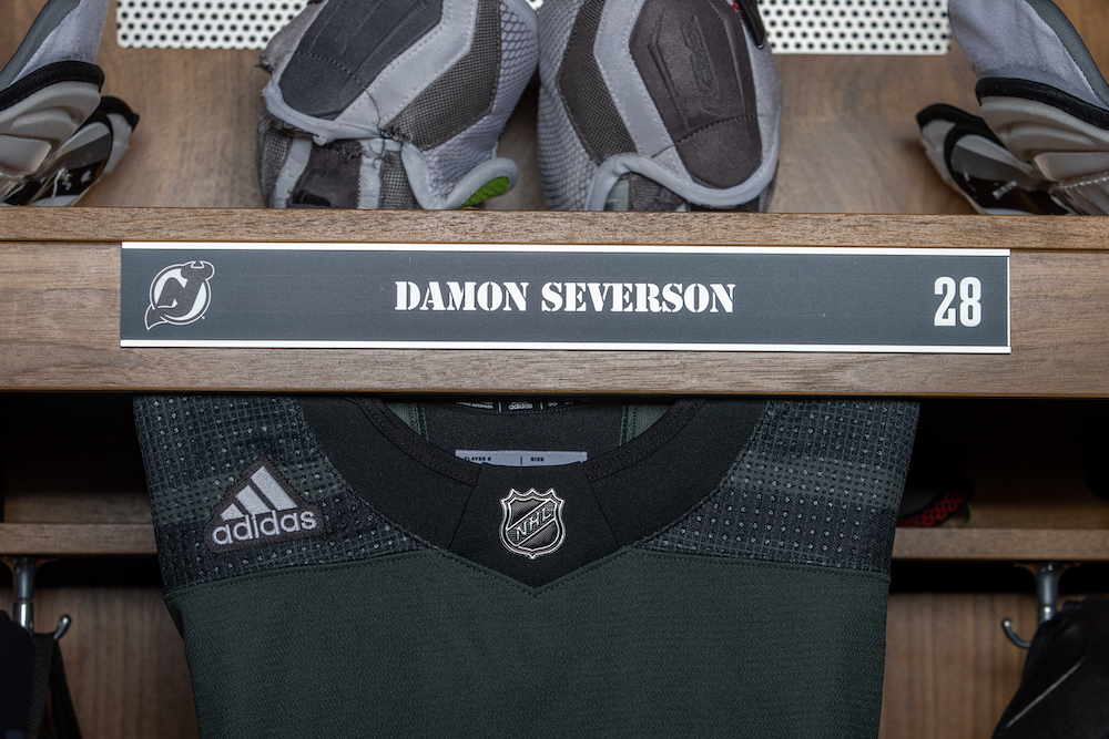 Damon Severson Autographed 2020-21 Military Themed Locker Room Nameplate - New Jersey Devils