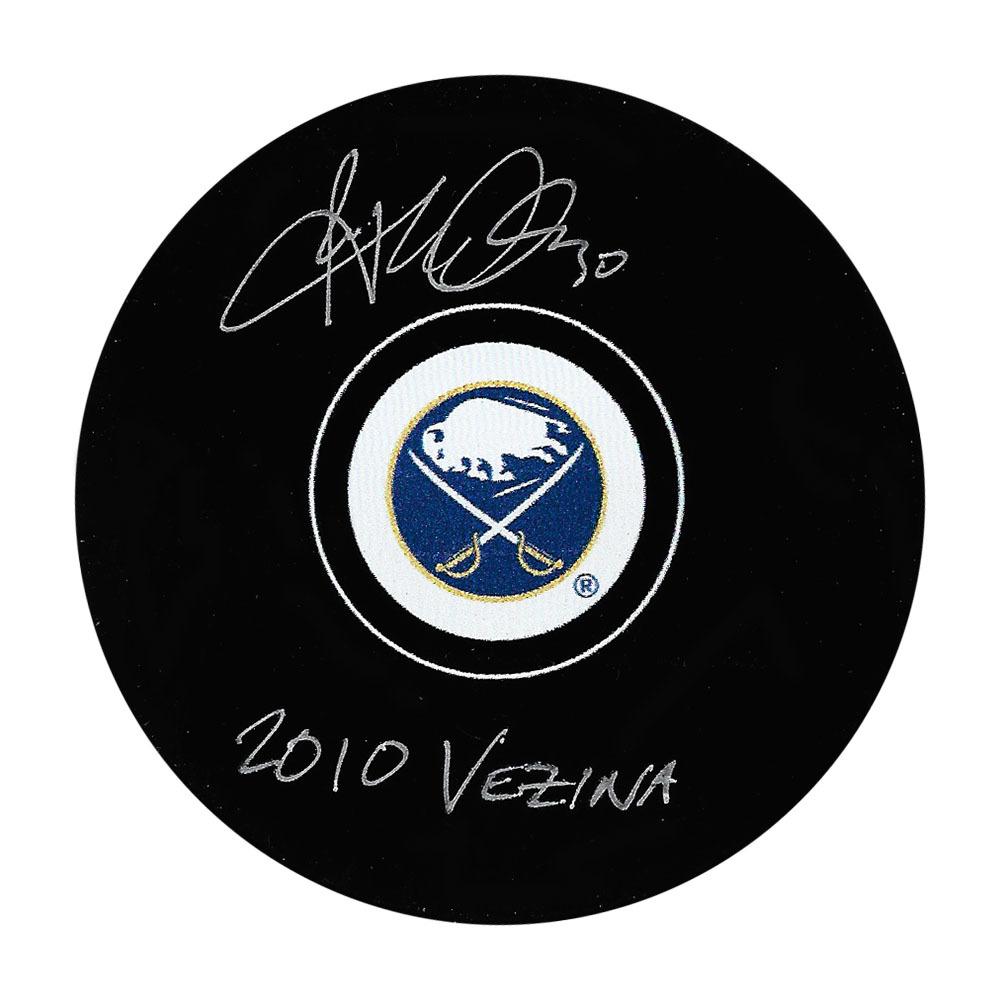 Ryan Miller Autographed Buffalo Sabres Puck w/2010 VEZINA Inscription