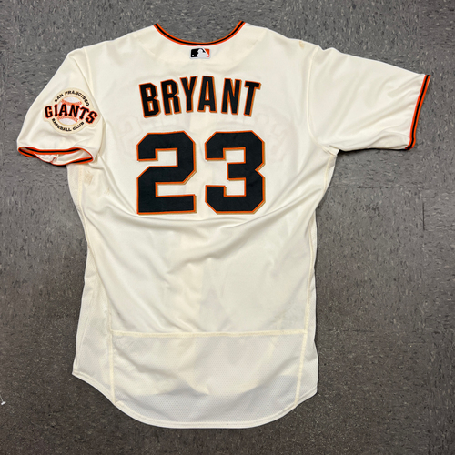 Photo of 2021 Game Used Home Cream Jersey worn by #23 Kris Bryant on 8/16 vs. NYM - HR #20 & 21 of 2021, 9/1 vs. MIL - 2 2B  & 9/5 vs. LAD - Size 46