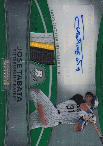 Photo of 2010 Bowman Platinum Relic Autographs Green Refractors #JT Jose Tabata