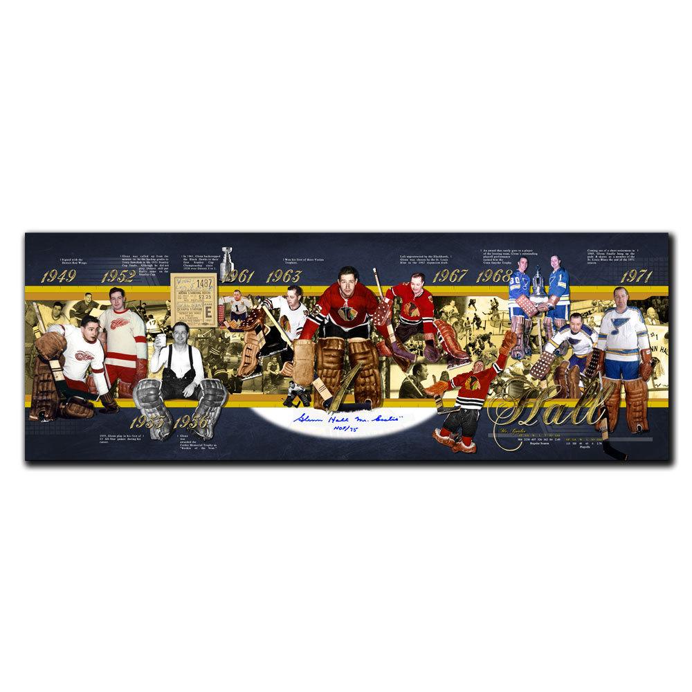 Glenn Hall Chicago Blackhawks HOF Career Timeline Autographed 12x34