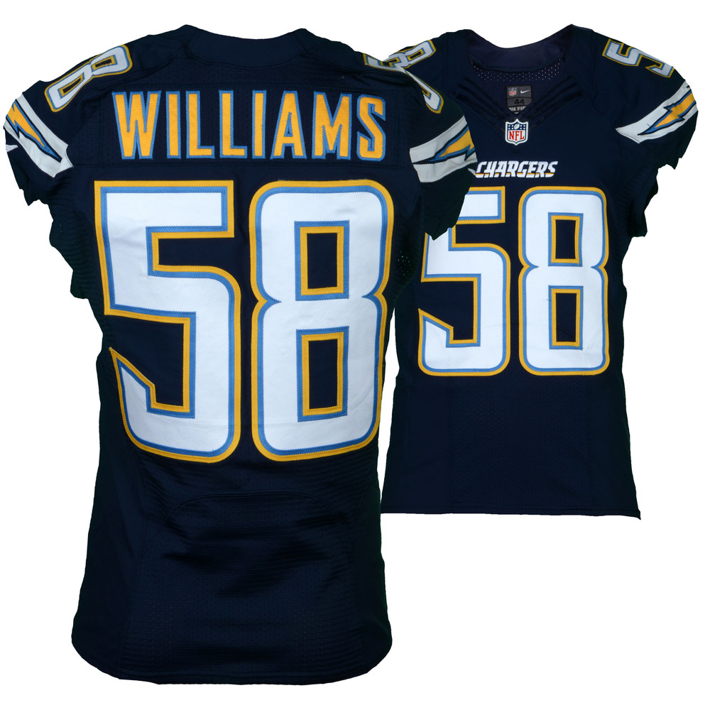 Tourek Williams San Diego Chargers Game-Used #58 Blue Jersey vs. Kansas City Chiefs on January 1, 2017