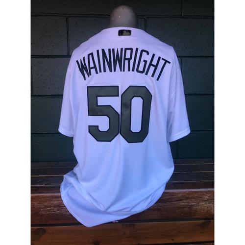 Photo of Cardinals Authentics: Adam Wainwright Game Worn Home White Memorial Day Jersey