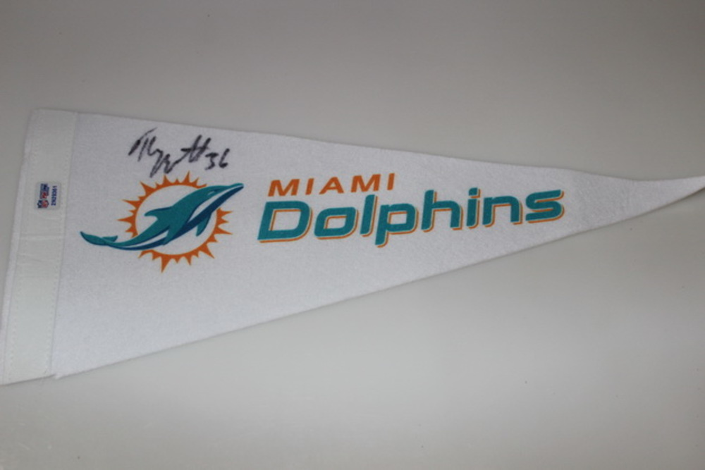 DOLPHINS - TONY LIPPETT SIGNED DOLPHINS PENNANT (CREASES ON PENNANT)