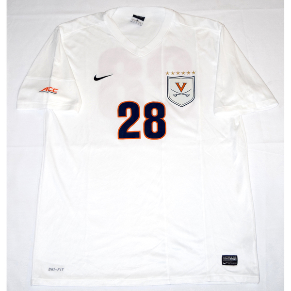Photo of 2014 National Championship Game-Worn University of Virginia Men's Soccer Jersey: White #28