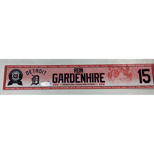 Photo of Game-Used Mother's Day Locker Name Plate: Ron Gardenhire