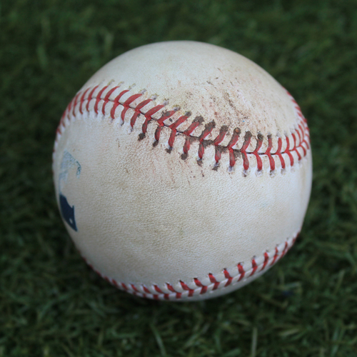 Photo of Game-Used Baseball: Kevan Smith 140th Career Hit (LAA @ KC - 4/26/19)