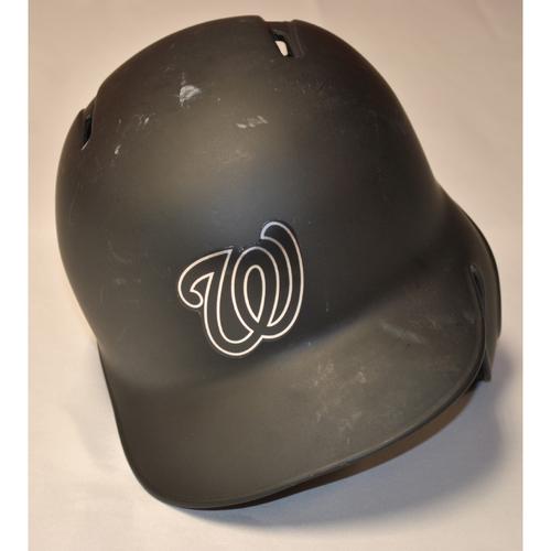 "Photo of Yan ""GOMER"" Gomes Washington Nationals Game-Used 2019 Players' Weekend Helmet"