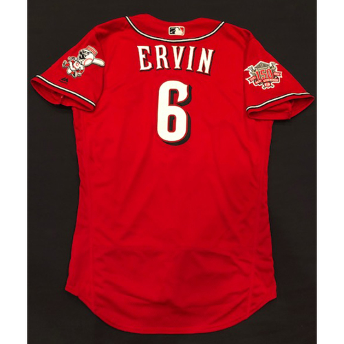 "Photo of Phillip Ervin -- Game-Used ""Los Rojos"" Jersey (Starting CF) -- D-backs vs. Reds on 9/6/19 -- Jersey Size 44"