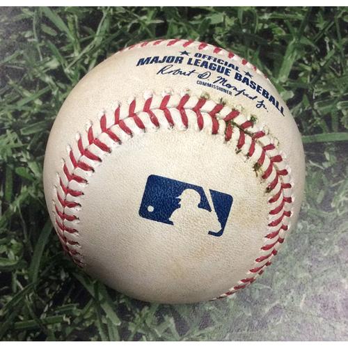 Photo of Game-Used Baseball STL@MIL 08/28/19 - Jack Flaherty - Trent Grisham: Single