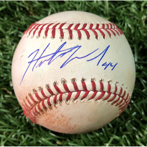 Photo of Autographed Game Used Baseball: Hunter Wood First Career Win - September 4, 2018 at TOR