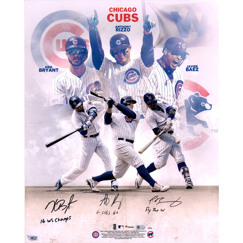 Kris Bryant Anthony Rizzo And Javier Baez Chicago Cubs Autographed 16 X 20 Stylized Photograph With Multiple Inscriptions Le 10 Of 10 Mlb Auctions