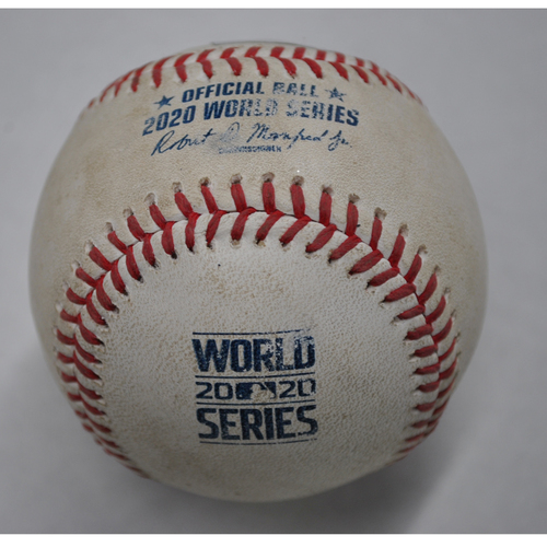 Photo of Game-Used Baseball - 2020 World Series - Tampa Bay Rays vs. Los Angeles Dodgers - Game 1 - Pitcher: Josh Flemming, Batter: Max Muncy (Single to CF) - Bot 8