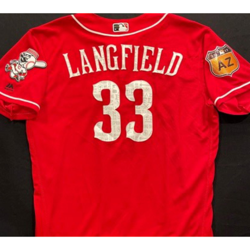 Photo of LANGFIELD -- Authentic Reds Jersey -- $1 Jersey Auction -- $5 Shipping -- Size 46 (Not MLB Authenticated)