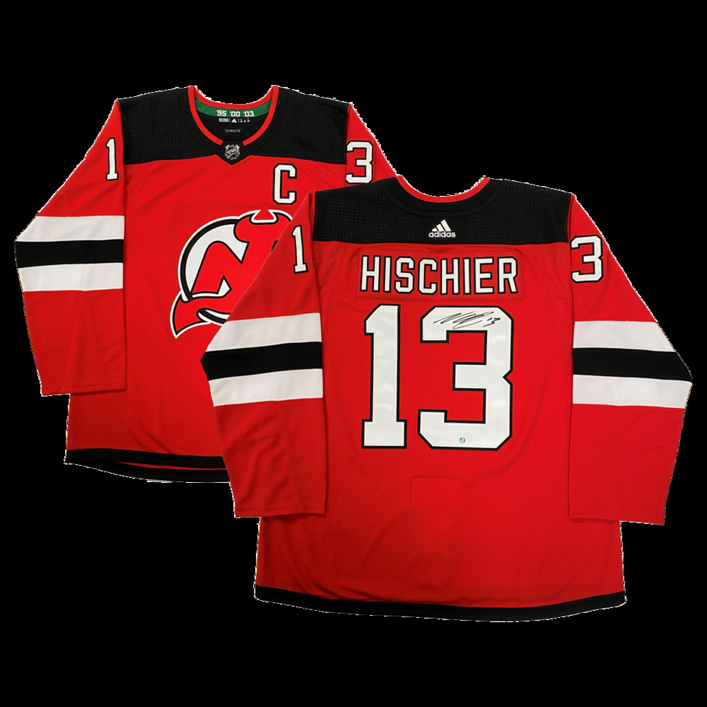 Nico Hischier Signed New Jersey Devils Red Adidas Pro Jersey