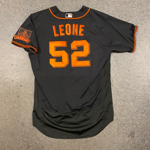 Photo of 2021 Game Used Fiesta Gigantes Black Home Alt Jersey worn by #52 Dominic Leone on 9/18 vs. Atlanta Braves - 1.0 IP, SAVE #2 of 2021 - Size 48