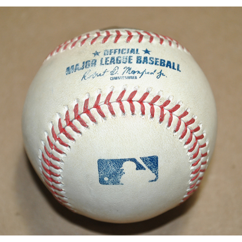 Photo of Game-Used Baseball - 2020 ALDS Game 3 - Oakland Athletics vs. Tampa Bay Rays - Batter: Mark Canha, Pitcher: Jose Urquidy, Home Run to CF, Top 2