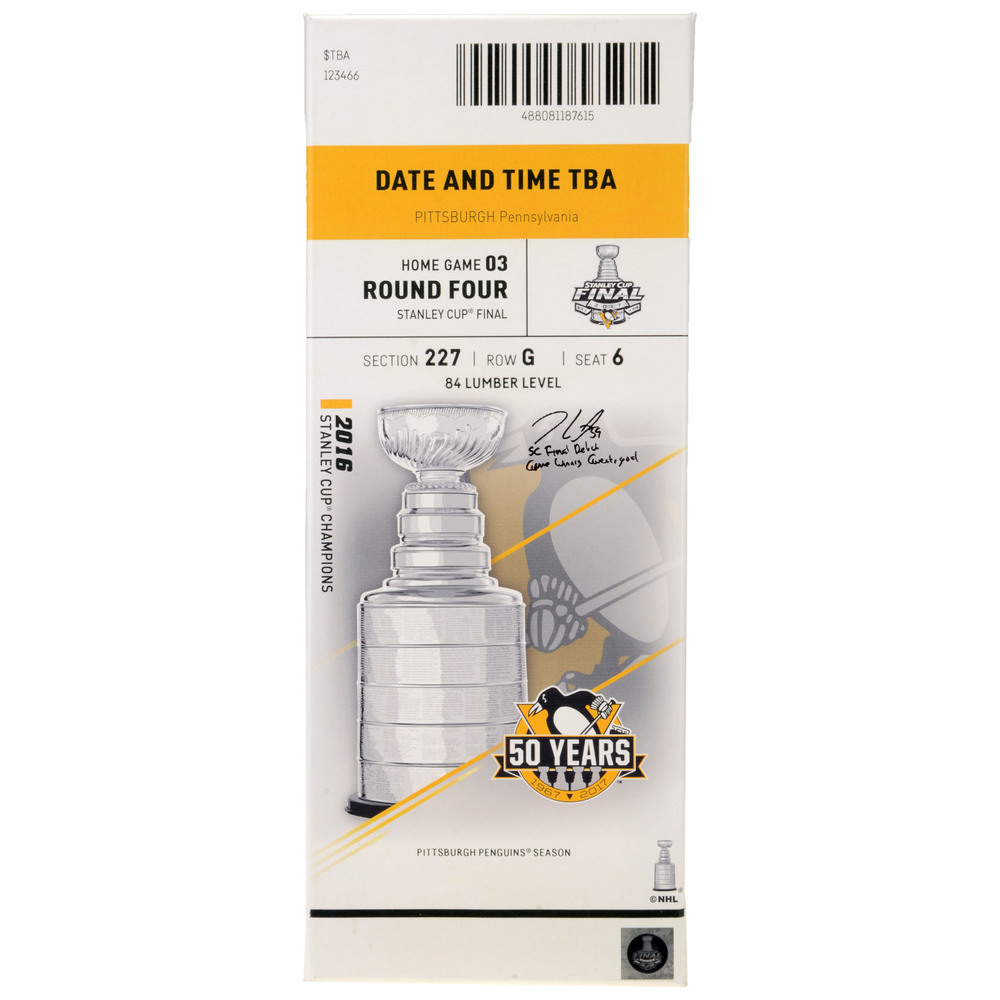 Jake Guentzel Pittsburgh Penguins Autographed 2017 Stanley Cup Final Game 1 Canvas Ticket with Multiple Inscriptions - #17 of a L.E. of 17