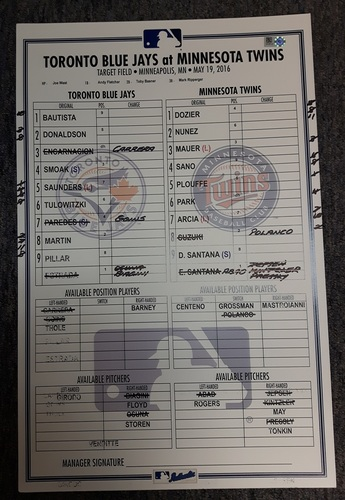 Photo of Authenticated Game Used Line-Up Card - May 19, 2016 vs Minnesota Twins. Joe Biagini's 1st Career Save.