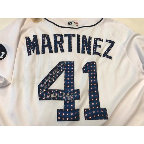 Photo of Autographed Game-Used Stars and Stripes Jersey: Victor Martinez