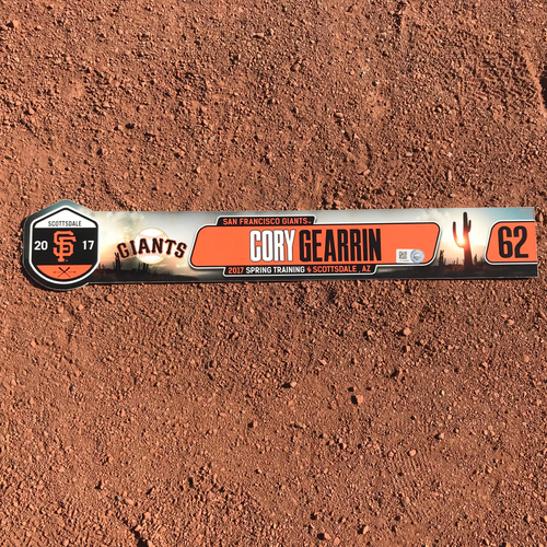 Photo of San Francisco Giants - Team-Issued 2017 Spring Training Locker Tag - #62 Cory Gearrin