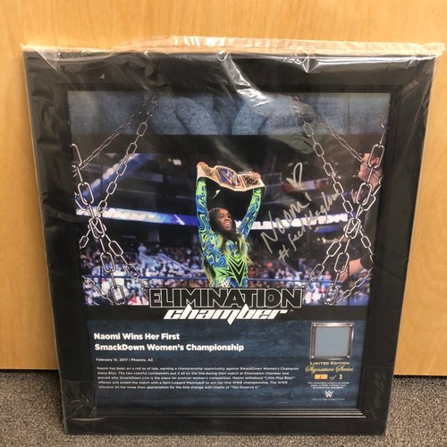 Photo of Naomi SIGNED Elimination Chamber 2017 Signature Series Ring Canvas Plaque (#1 of 1)