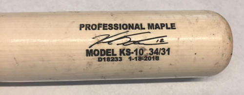 Photo of Kyle Schwarber Game-Used Bat -- Alex Wood to Kyle Schwarber, Foul Ball, Top 5 -- Cubs at Dodgers -- 6/27/18