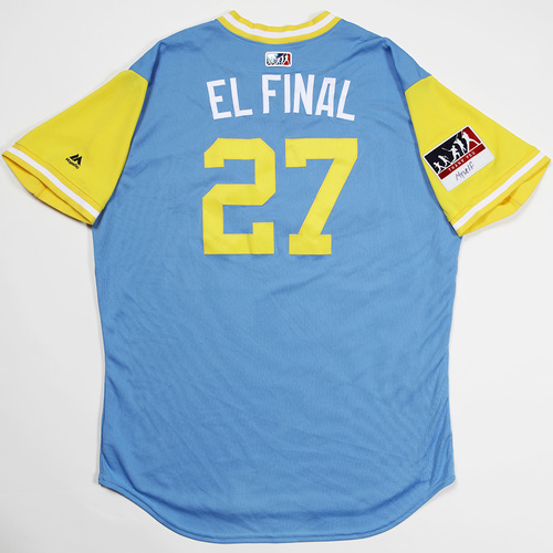 "Photo of Carlos ""El Final"" Gomez Tampa Bay Rays Game-Used 2018 Players' Weekend Jersey"