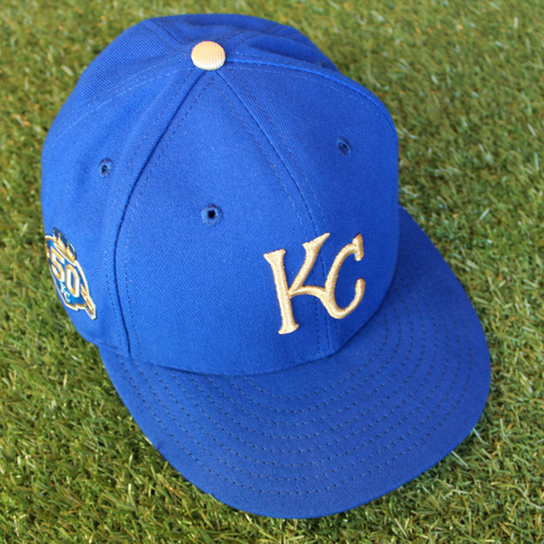 Photo of Game-Used 50 Seasons Cap: Cal Eldred (Size 7 1/4 - CLE @ KC - 9/28/18)