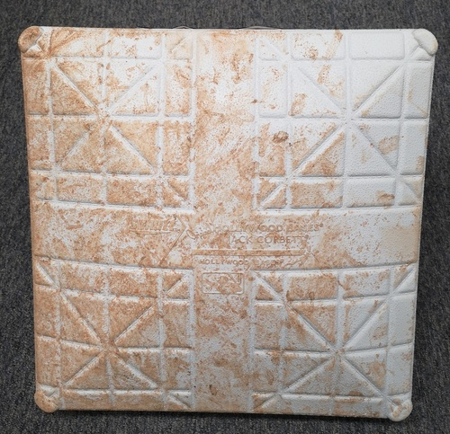 Photo of Authenticated Game Used Base - May 20-23, 19 vs Boston Red Sox. 1st Base for Innings 1 to 3. In place for a Michael Chavis Home Run.