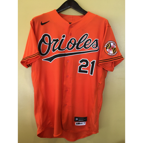 Photo of Austin Hays - Orange Spring Training Alternate Jersey: Game-Used - 2/27/20