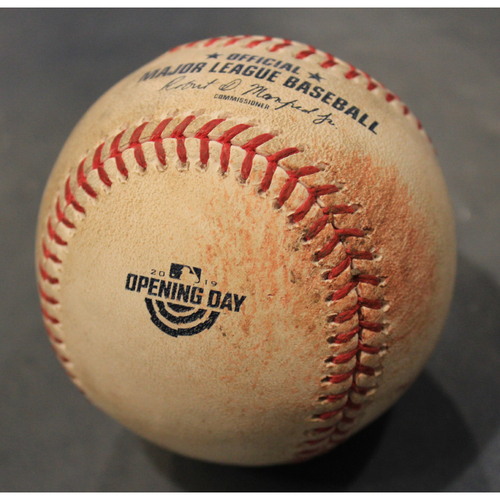 Photo of Game-Used Opening Day 2019 Baseball: Kevin McCarthy Pitched Strike to Wellington Castillo (CWS @ KC - 3/28/2019)
