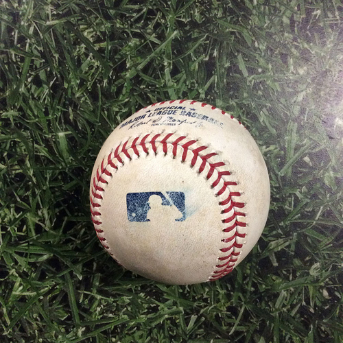 Photo of Game-Used Baseball NYM@MIL 05/24/18 - Steven Matz - Tyler Saladino: Strikeout