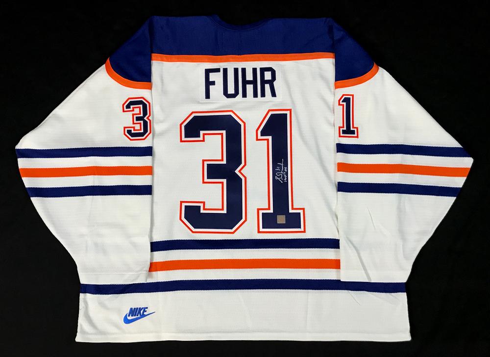 Grant Fuhr #31 - Autographed Edmonton Oilers White Nike Replica Hockey Jersey